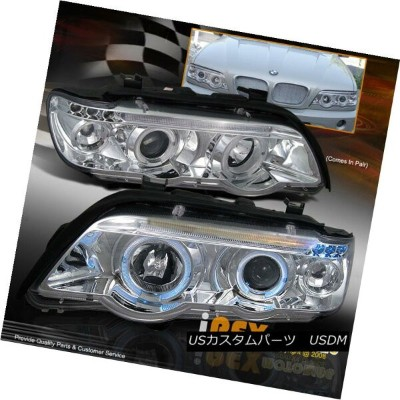 ヘッドライト New For 2000-2003 BMW X5 E53 E-53 Halo Projector LED Headlights Headlamp Chrome BMW X5 E53 E...