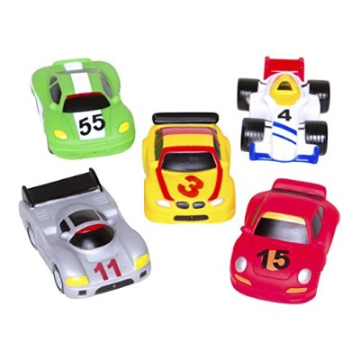 Elegant Baby Bath Time Fun Rubber Water Squirtie Toys In Vinyl Giftable Bag, Race Car Party by...