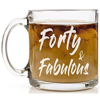 shop4ever& FabulousノベルティガラスコーヒーマグTea Cup Gift ~ 40th Birthday ~ 13 oz. クリア Clear_FortyFab_Mug