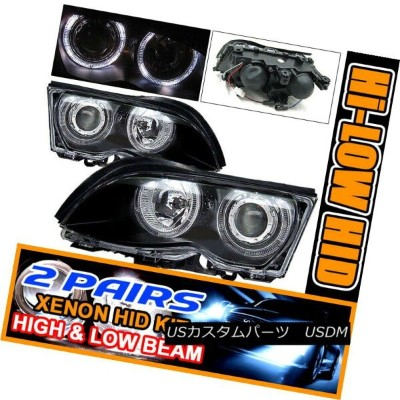 ヘッドライト Fits 2 Sets HID 99-01 BMW E46 328I Halo Projector Headlight フィット2セットHID 99-01 BMW E46...