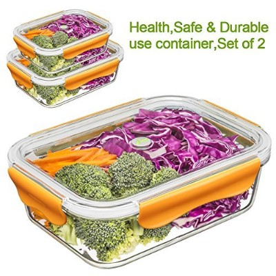 (370ML & 1040ML, Orange) - Food Containers, Glass Lunch Containers Set 100% BPA Free, Stackable,...