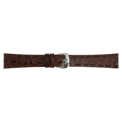 レディース用12 mmブラウンステッチCrocodile Grain Calf Leather Watch Strap