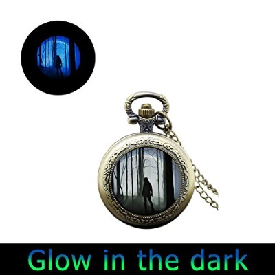 glowlala ® Glowingポケット時計ネックレスGirl in the Forest Glow in the Dark Girl Watchネックレスレディース時計ペンダントライトWatch...
