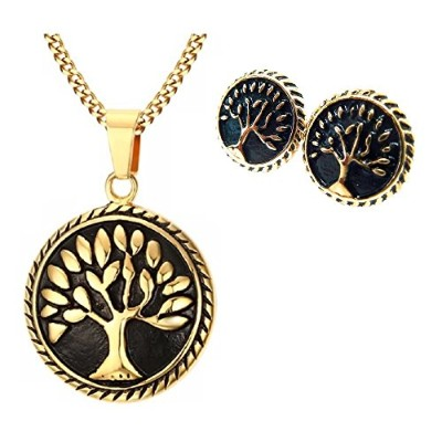 (Gold Necklace & Earrings) - BellaMira Tree of Life 18K Gold & Rose Gold Medallion Pendant Necklace...