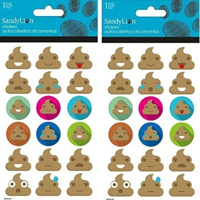 Emoji Poop Bubble Stickers Two Packs 36 Dimensional Stickers
