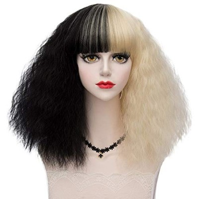 (3) - TOP-MAX Black Mixed Light Bloned Medium 42CM Afro Curly With Bangs Heat Resistant Lolita...