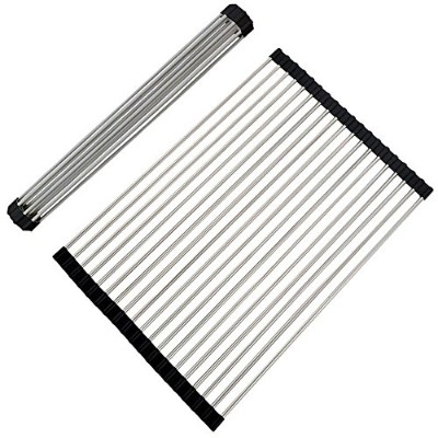 (Black 2) - Stainless Steel Multipurpose Roll-Up Kitchen Dish Drying Rack