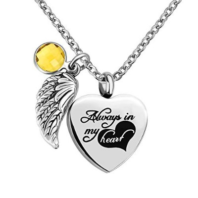 "JewelryJo""Always in My Heart Angel Wing Love ハート 誕生石 クリスタル 骨壺 ネックレス 遺灰 形見ペンダント"