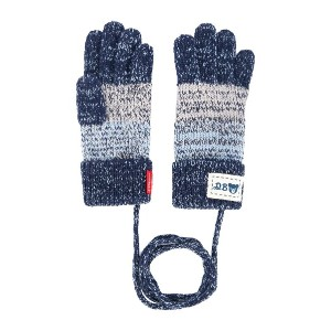 Miki House melange knit gloves - ブルー