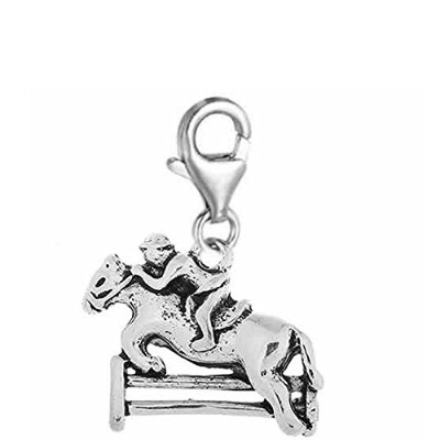 Jockey on Horse Jumping Overフェンスクリップonチャームジュエリーwith Lobster Clasp