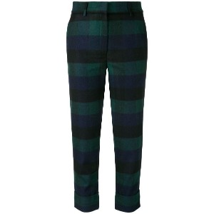 Woolrich check print cropped trousers - グリーン