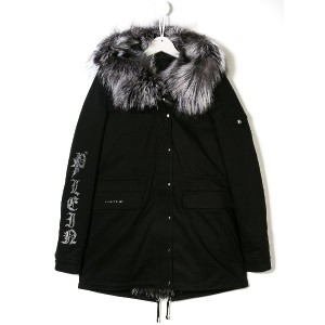 Philipp Plein Junior embellished skull parka - ブラック