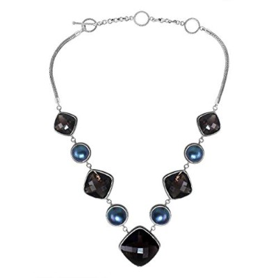 SN-1699-CO2 Sterling Silver Necklace With Black Onyx, Gray Pearl