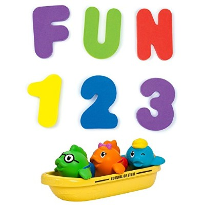 Munchkin Bath Letters & Numbers with School of Fish Bath Toys by Munchkin