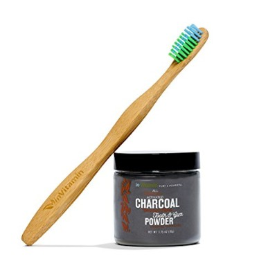 Natural Whitening Tooth & Gum Powder with Activated Charcoal, 2.75oz + 1 WooBamboo Toothbrush -...