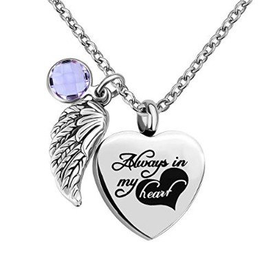 CLY Jewelry 「Always in My Heart」 「Love Angel Wing Birthstone Jan. ガーネット 赤 遺灰 ネックレス 遺灰 女性用