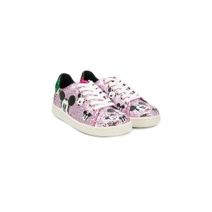 Moa Kids Mickey Mouse glitter sneakers - ピンク