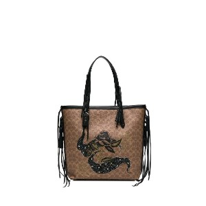 Coach 34 signature canvas tote with tattoo - ブラウン