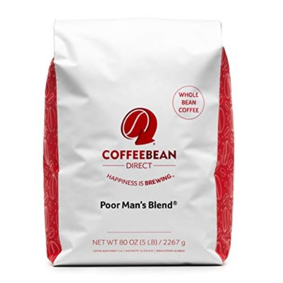Coffee Bean Direct Poor Man's Blend, Whole Bean Coffee, 5-Pound Bag by Coffee Bean Direct