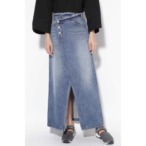 CROSS WAIST LONG DENIM SKIRT ブルー
