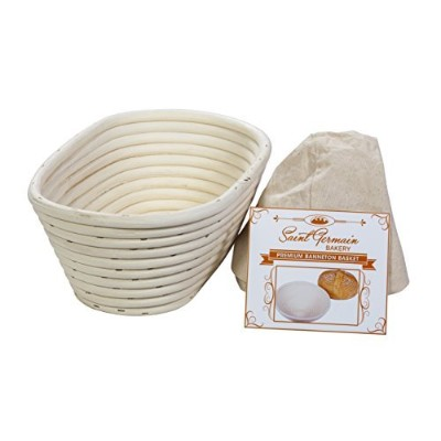 (10 x 15cm x 10cm) Premium Oval Banneton Basket with Liner - Perfect Brotform Proofing Basket for...