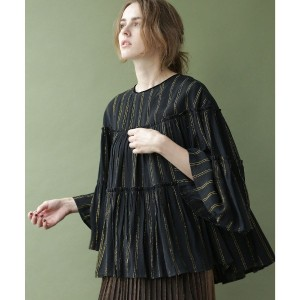 【SALE 50%OFF】nano・universe NE QUITTEZ PAS/別注 lurex stripe top(ブラック)【返品不可商品】