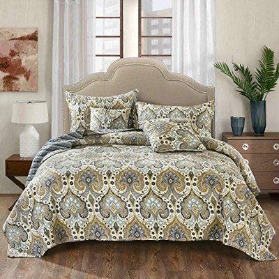 (Twin) - Tache Bohemian Spades Bedspread Set - Reversible Quilted Coverlet - Bright Vibrant Multi...