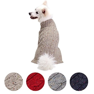 Blueberry Pet Nep Yarn Wool Blend Cable Knit Pullover Turtleneck Dog Jumper in Ashy Beige, Back...