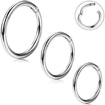 OUFER 16G 316L Surgical Steel Hinged Clicker Segment Septum Lip Nose Hoop Ring Helix Daith...