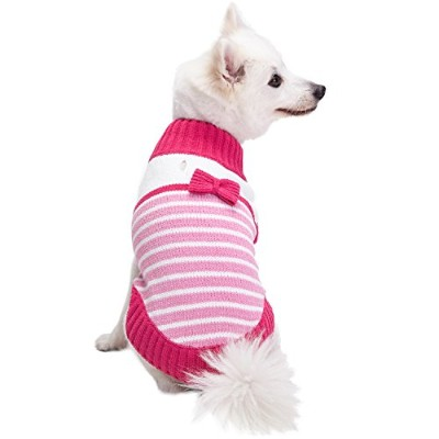 Blueberry Pet Pinky Princess Designer Chenille Dog Jumper with Bow Decor, Back Length 51cm, Pack of...