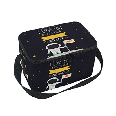 Alaza I Love You To The Moon And Back Star Insulated Lunchバッグボックスクーラーバッグ再利用可能なトートバッグアウトドア旅行ピクニックバッグw...