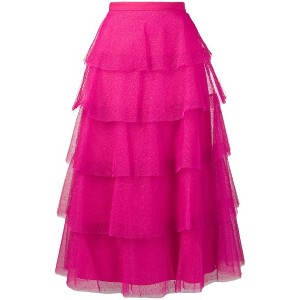 Red Valentino tiered dot mesh skirt - ピンク