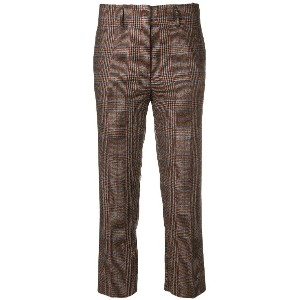 Pinko plaid cropped trousers - オレンジ