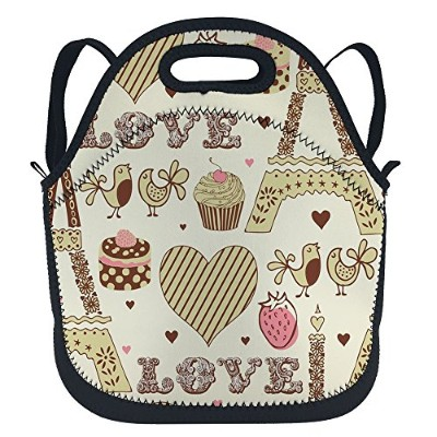OFLORALパンダInsulatedランチバッグネオプレンBear Panda Looking Ahead Lunchboxバックパックwith Shoulderストラップfor...