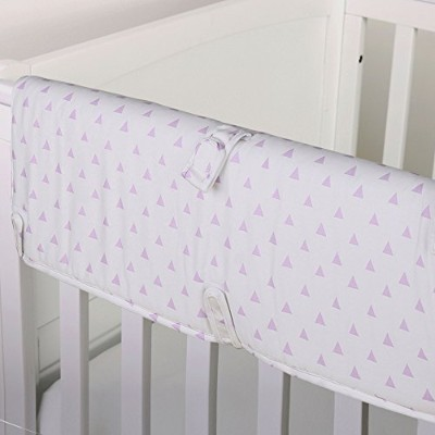 Purple Triangle Print 100% Cotton Padded Crib Rail Guard by The Peanut Shell by The Peanut Shell