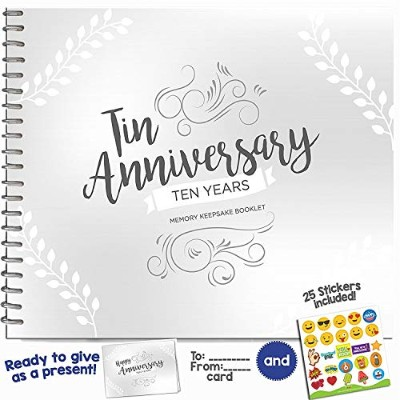 (Ten Years) - 10TH ANNIVERSARY GIFTS FOR COUPLES BY YEAR - Ten Year Booklet with Matching Card for...