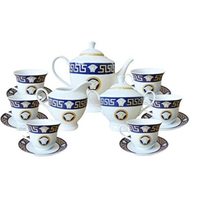 Inspired by Versache Greekkキー17Piece Porcelain Tea Set Service for 6personギフトboxed-navy