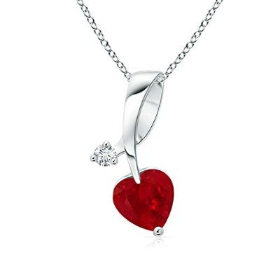 Holiday Offer–7月誕生石–Twisted Heart Shaped Rubyネックレスwithダイヤモンド