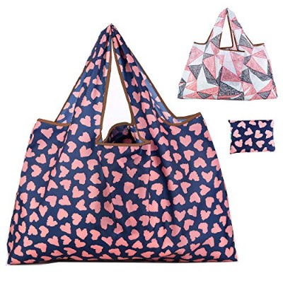 Reusable Grocery Bags 2パックWashable/折りたたみ式/Eco FriendlyナイロンHeavy Duty Fits inポケットショッピングトートバッグ 27.5'...
