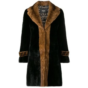 Fendi fur midi coat - ブラック