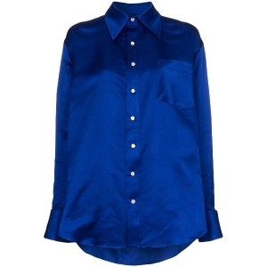 Matthew Adams Dolan asymmetric hem silk oxford shirt - ブルー