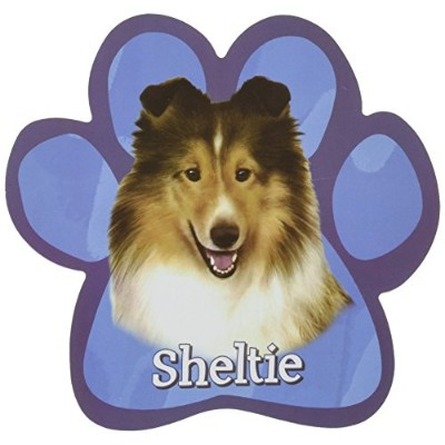 Sheltie Car Magnet With Unique Paw Shaped Design Measures 5.2 by 5.2 Inches Covered In High Quality...