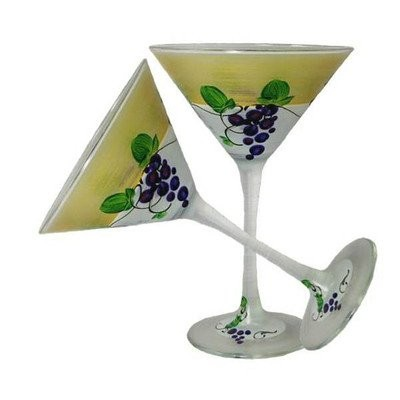 Golden Hill Studio Martini Glasses Hand Painted in the USA by American Artists-Set of 2-Grapes 'n...