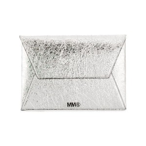 Mm6 Maison Margiela logo envelope clutch - シルバー