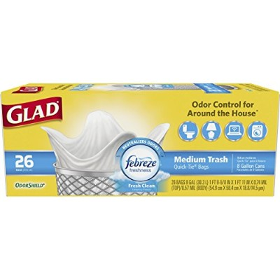 Glad OdorShield Quick-Tie Medium Trash Bags, Fresh Clean, 8 Gallon, 156 Count by Glad