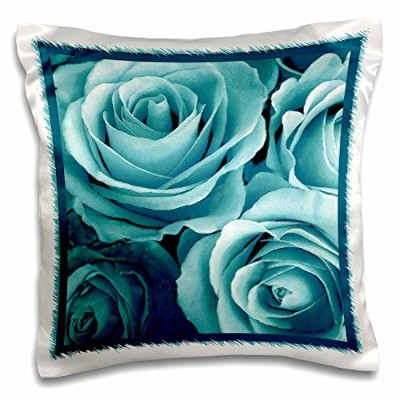 Jaclinart Garden Nature Florals Flowers Roses Bouquet–Close Up Of Dreamyターコイズブルーローズブーケ–枕ケース...
