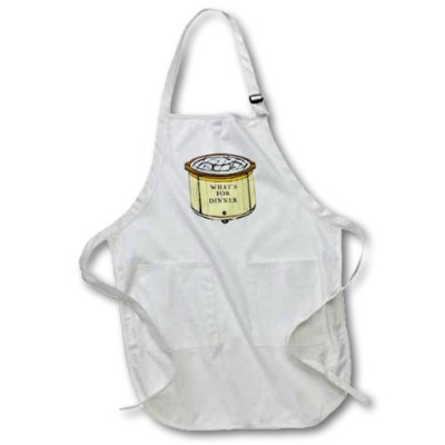 (White-Medium) - 3dRose Crock Pot With Whats For Dinner Written On It, Medium Length Apron, 60cm by...