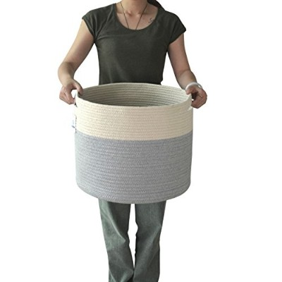 XL Jumbo Toy Storage Cotton Rope Basket Hamper with Invisible Handles 23.6''13.8'' (X Large)
