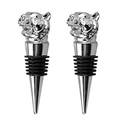 (Tiger) - Wine Bottle Stopper,Set of 2 Stainless Animal Tiger Head Zinc Alloy Red Wine Beverage...