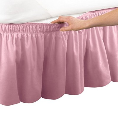 (Queen/King, Rose) - Elastic Bed Wrap Ruffle Bed Skirt Rose Queen/King